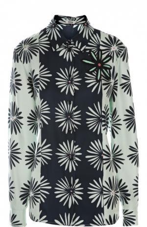 Блуза с брошью Issa. Цвет: разноцветный