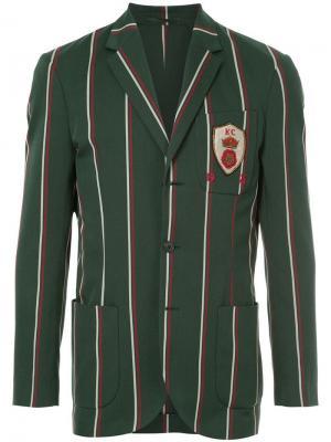 Полосатый блейзер с заплаткой на груди Kent & Curwen. Цвет: зеленый
