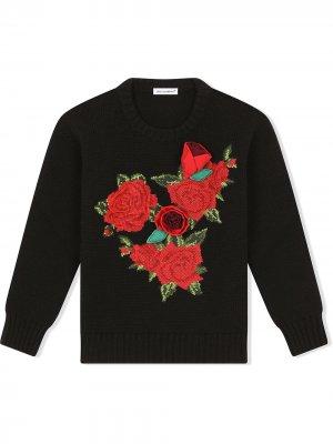 Джемпер с нашивкой Dolce & Gabbana Kids. Цвет: черный