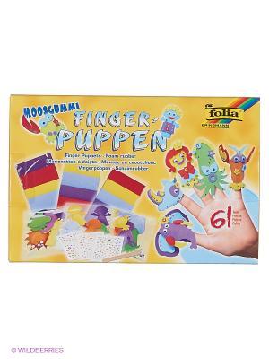 Большой набор для творчества: кукольный театр на пальцы FOLIA. Цвет: синий