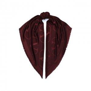 Шаль из шелка и шерсти Garavani Valentino. Цвет: красный