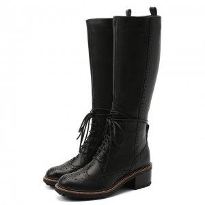 Кожаные сапоги Chloé. Цвет: чёрный