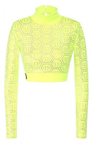 Пуловер из вискозы Philipp Plein. Цвет: желтый