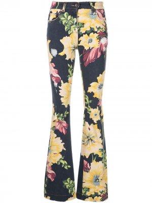 Расклешенные джинсы с цветочным принтом ETRO. Цвет: синий
