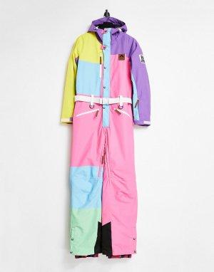 Разноцветный горнолыжный костюм унисекс в стиле колор-блок OOSC-Многоцветный Old School Ski