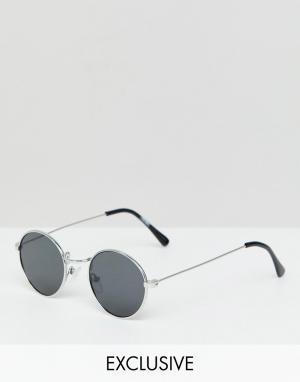 Круглые солнцезащитные очки в серебристой оправе inspired-Серебряный Reclaimed Vintage