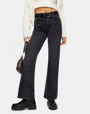 Расклешенные джинсы черного выбеленного цвета в стиле 90-х -Черный цвет Topshop