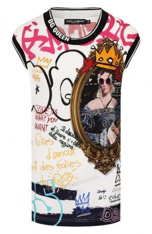 Хлопковая майка Dolce & Gabbana. Цвет: разноцветный