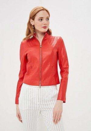 Куртка кожаная Patrizia Pepe. Цвет: красный