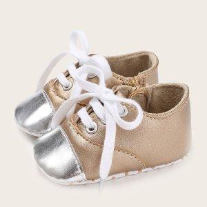 Балетки на шнурках для мальчиков SHEIN. Цвет: aбрикосовый