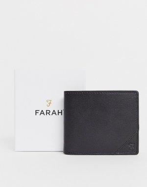 Черный кожаный складной бумажник Farah