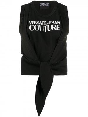 Топ с логотипом и завязками на подоле Versace Jeans Couture. Цвет: черный