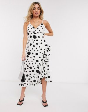 Платье в горошек -Белый Forever U