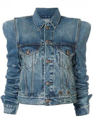 Джинсовая куртка со сборками R13. Цвет: синий