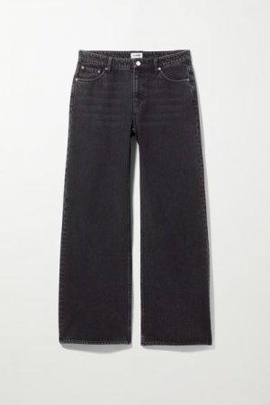 Широкие джинсы с низкой посадкой Ray Weekday. Цвет: черный