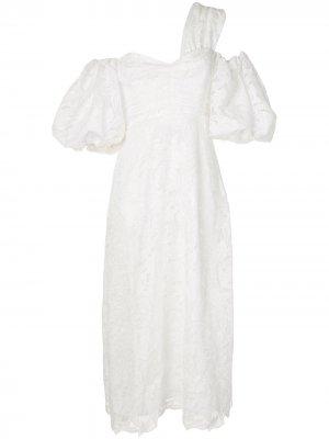 Кружевное платье на одно плечо Self-Portrait. Цвет: белый
