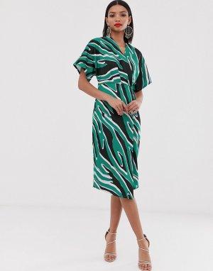 Платье миди с запахом и принтом -Фиолетовый Closet London