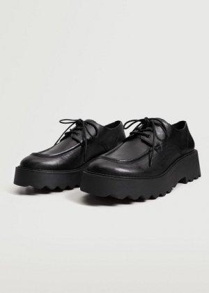 Кожаные туфли на тракторной подошве - Harry Mango. Цвет: черный