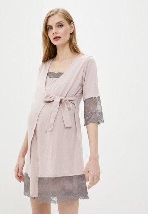 Халат и сорочка ночная All Mixes. Цвет: розовый