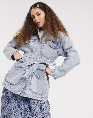 Синяя джинсовая куртка в стиле милитари с поясом -Синий Monki