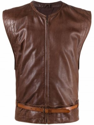 Жилет 1980-х годов с поясом Versace Pre-Owned. Цвет: коричневый
