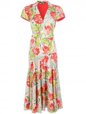 Платье-рубашка с цветочным принтом и поясом Badgley Mischka. Цвет: разноцветный