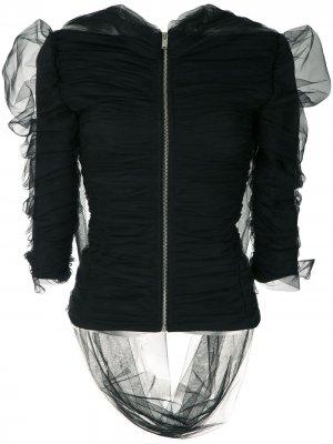 Блузка из тюля с драпировкой Gloria Coelho. Цвет: черный