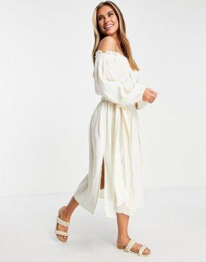 Пляжное платье из жатой ткани натурального цвета с открытыми плечами -Белый ASOS DESIGN