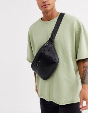 Черная кожаная сумка-кошелек на пояс Smith & Canova-Черный And Canova