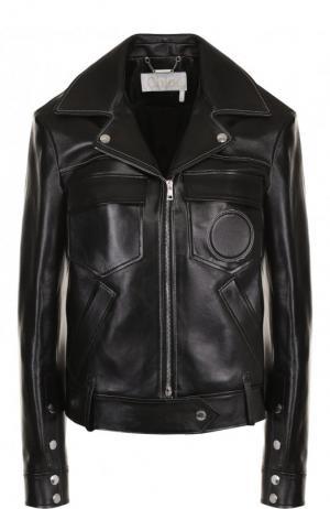 Кожаная куртка на молнии с карманами Chloé. Цвет: черный