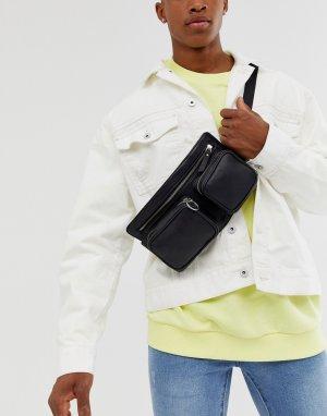 Сумка-кошелек на пояс из мягкой кожи с карманами -Черный Bolongaro Trevor