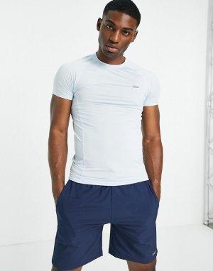 Облегающая спортивная футболка из быстросохнущей ткани голубого цвета с логотипом -Голубой ASOS 4505