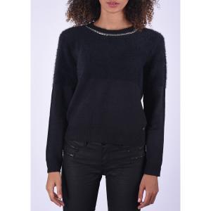Пуловер с начесом, круглым вырезом и цепочкой на вырезе KAPORAL. Цвет: темно-синий