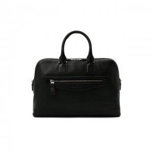 Кожаная сумка для ноутбука Santoni. Цвет: чёрный