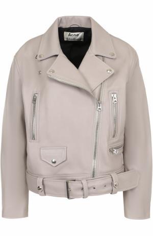 Кожаная куртка свободного кроя с косой молнией Acne Studios. Цвет: серо-бежевый