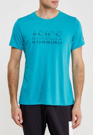 Футболка спортивная ASICS GRAPHIC SS TOP. Цвет: голубой