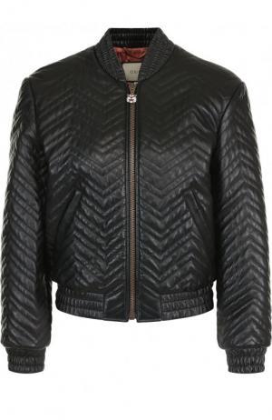 Однотонная кожаная куртка на молнии Gucci. Цвет: черный