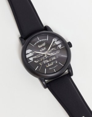 Мужские часы с кожаным ремешком и логотипом Luigi AR60032-Черный цвет Emporio Armani