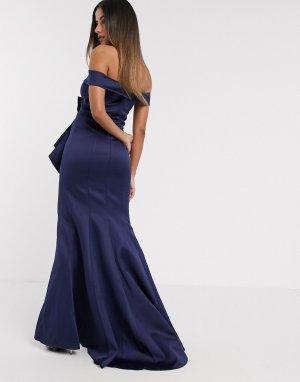Атласное темно-синее платье макси с бантом -Темно-синий Goddiva