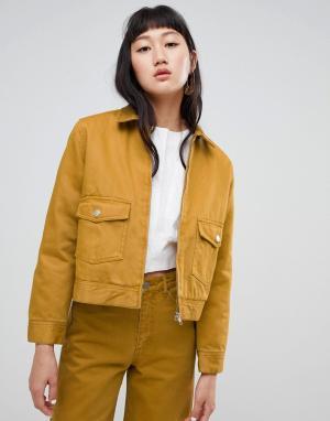 Джинсовая куртка с молниями из комплекта Weekday. Цвет: желтый