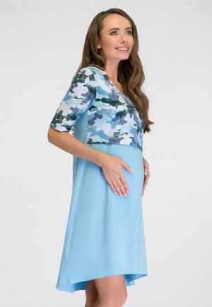 Платье домашнее Proud Mom. Цвет: голубой