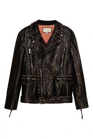 Черная кожаная куртка с принтом на спине Gucci. Цвет: черный
