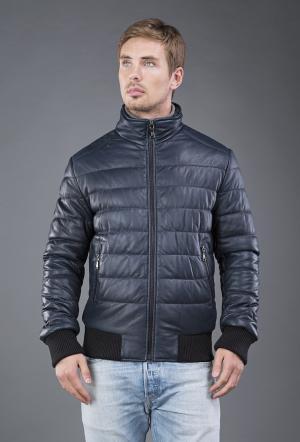 Мужская кожаная куртка на синтепоне AFG. Цвет: синий