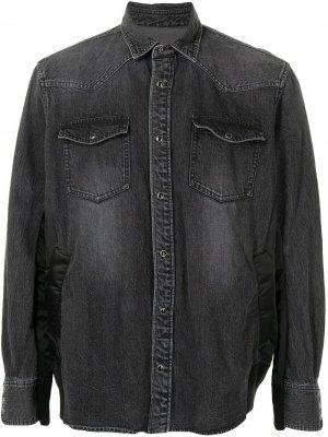 Джинсовая рубашка с эффектом потертости Sacai. Цвет: черный