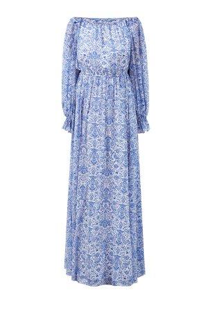 Шелковое платье в пол с флористическим принтом ALEXANDER TEREKHOV. Цвет: голубой