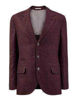 Однобортный пиджак из пряжи букле с мелованным принтом BRUNELLO CUCINELLI. Цвет: бордовый