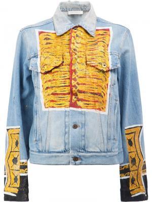 Джинсовая куртка с блестящим принтом Faith Connexion. Цвет: синий