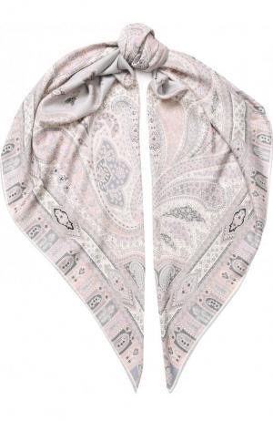 Платок из смеси кашемира и шелка с принтом Michele Binda. Цвет: розовый