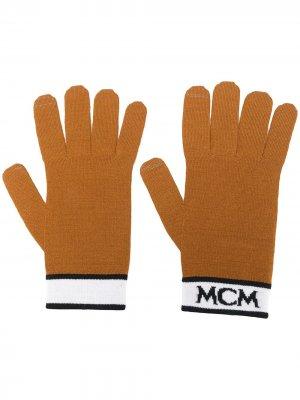 Вязаные варежки с логотипом MCM. Цвет: нейтральные цвета