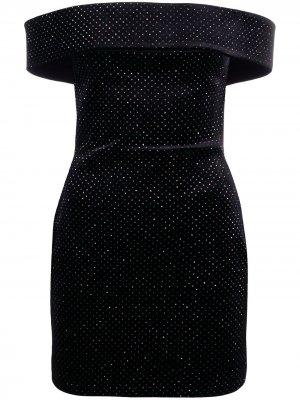 Бархатное платье мини с блестками Christopher Kane. Цвет: черный